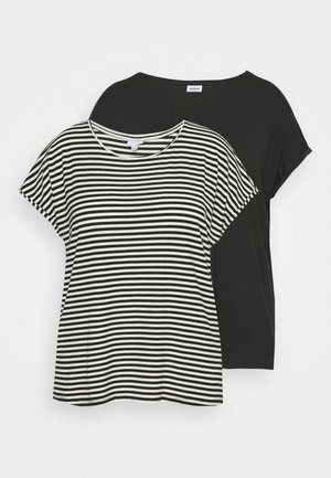 VMAVA PLAIN STRIPE 2 PACK - Print T-shirt - black/pristine