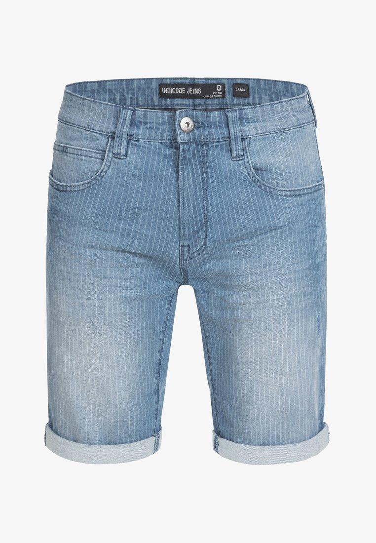 INDICODE JEANS CUBA CADEN - Jeans Shorts - dark blue/destroyed denim DIhBlF