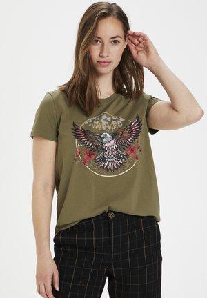 CUBELLA  - Print T-shirt - burnt olive