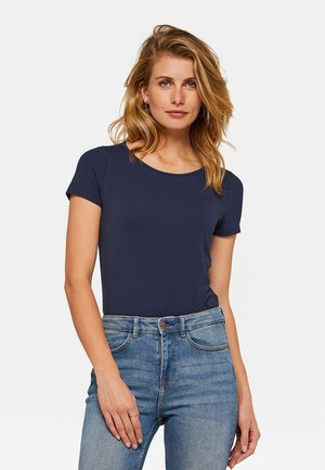 WE FASHION DAMEN-T-SHIRT AUS BIO-BAUMWOLLE - T-shirt basic - dark blue