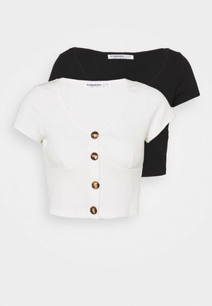 FITTED CROP 2 PACK - Printtipaita - black/off white