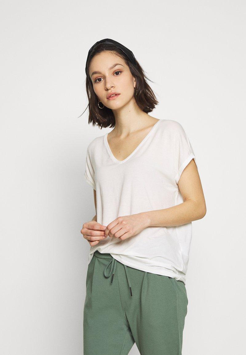 Vero Moda - VMAVA V NECK TEE - Basic T-shirt - snow white