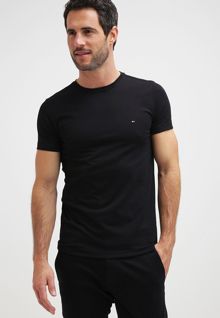 Tommy Hilfiger - NEW STRETCH TEE C-NECK - Basic T-shirt - flag black