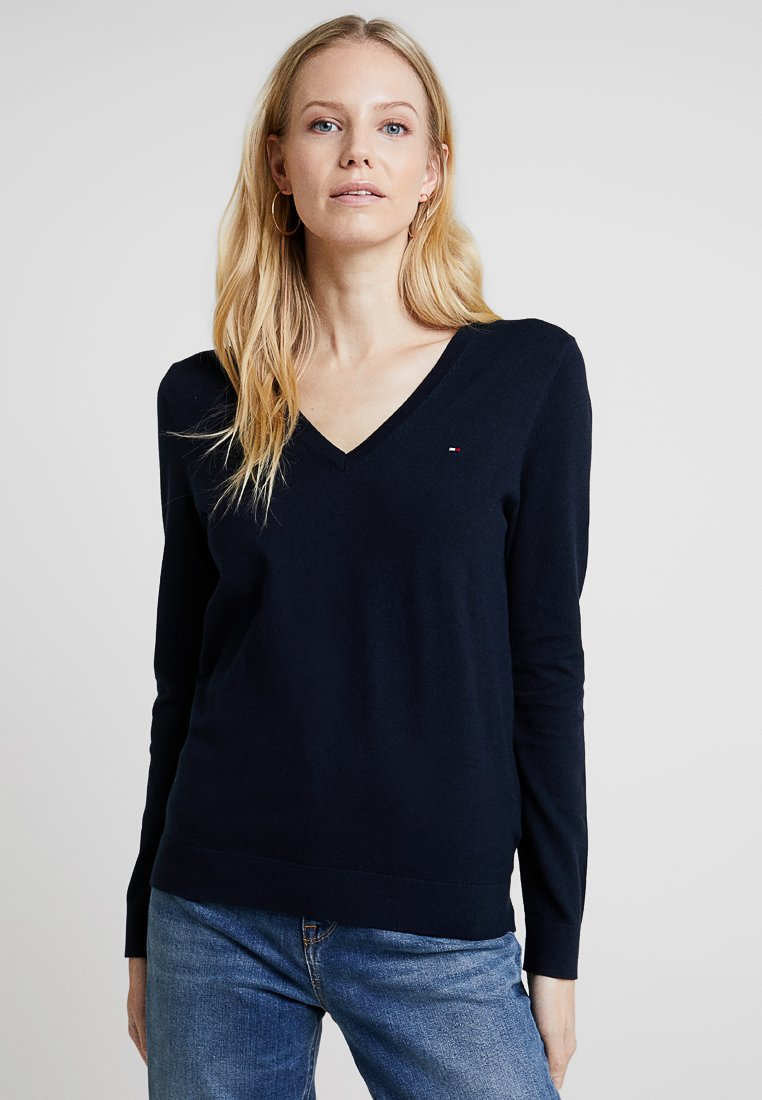 Tommy Hilfiger - HERITAGE V NECK  - Sweter - midnight