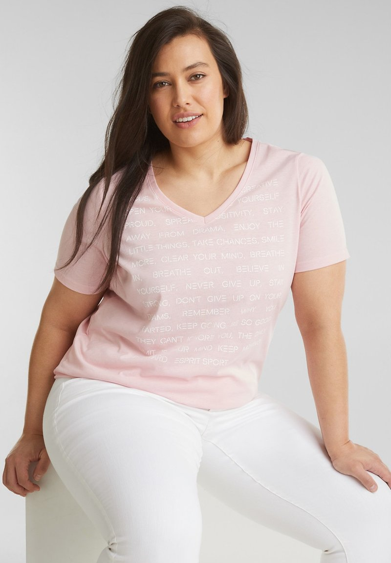 Esprit Sports - MIT STATEMENT-PRINT - Basic T-shirt - light pink