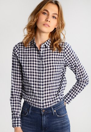 RELAXED CRINKLE GINGHAM - Button-down blouse - navy