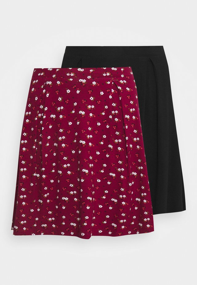 2 PACK - Falda acampanada - black/bordeaux
