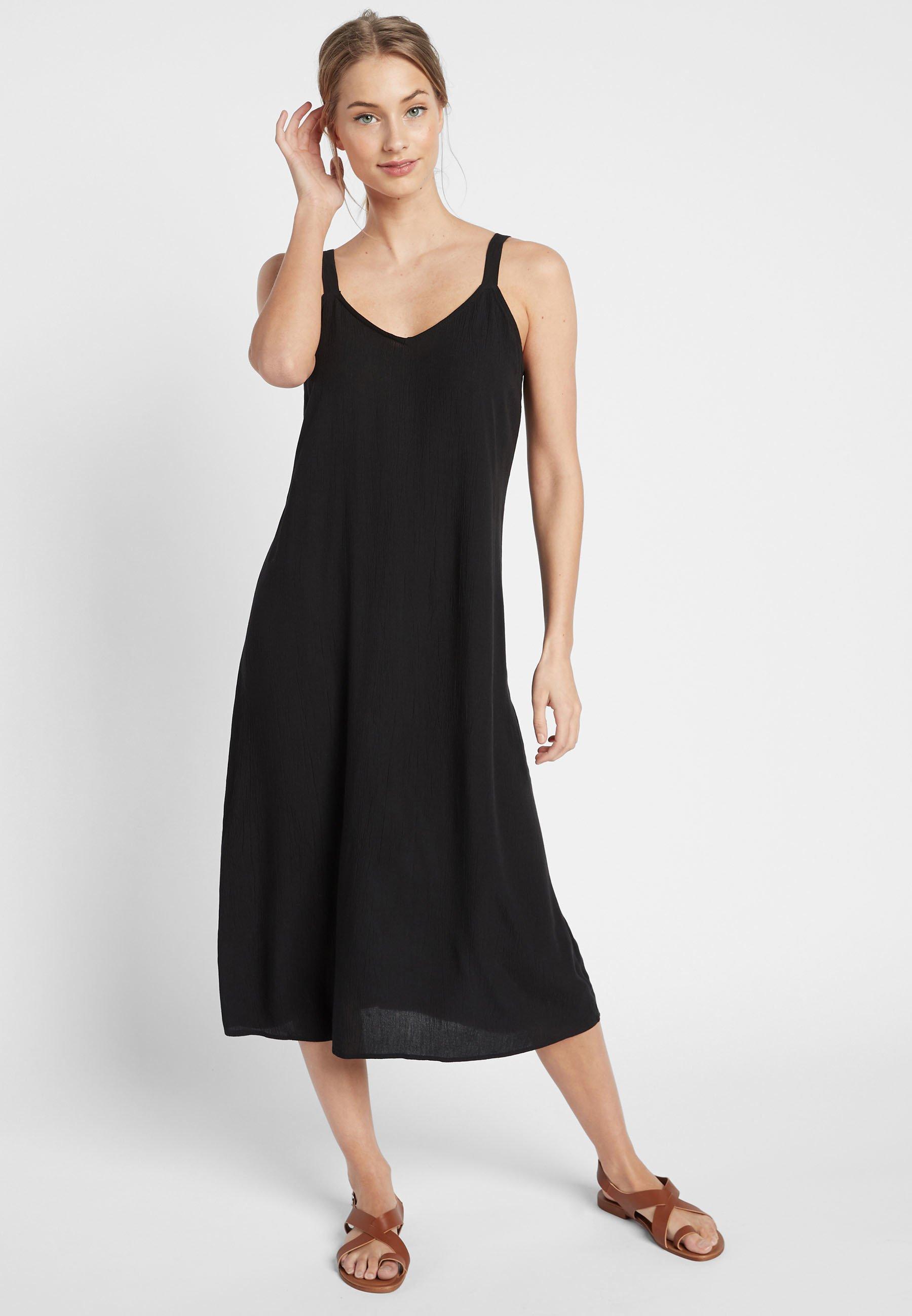 Donna BLACK MIDI SLIP DRESS - Vestito estivo