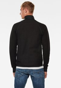 G-Star - JIRGI ZIP TAPE DETAIL FUNNEL LONG SLEEVE - Cardigan - dk black/raven - 1