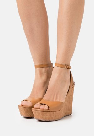 VERLY - Platform sandals - cognac
