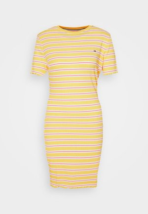 STRIPED TEE DRESS - Jerseykleid - star fruit yellow/white/multi