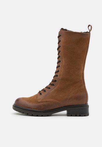 LEATHER - Platform boots - cognac