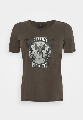 VLILY STRAIGHT TEE - Camiseta estampada - dark grey
