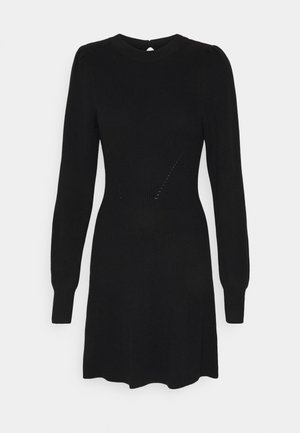 FIT FLARE DRESS - Pletené šaty - black