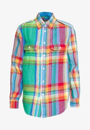 LONG SLEEVE - Button-down blouse - orange/green