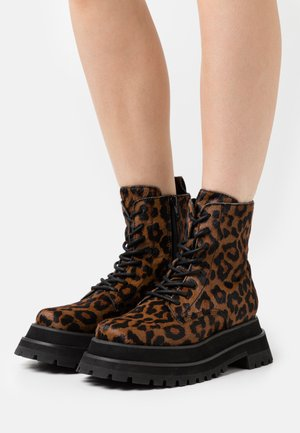 MECHANIC - Lace-up ankle boots - brown