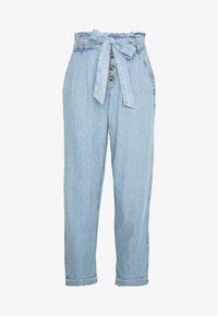 American Eagle - BUTTON FRONT PAPERBAG TAPER PANTS - Trousers - light blue - 3