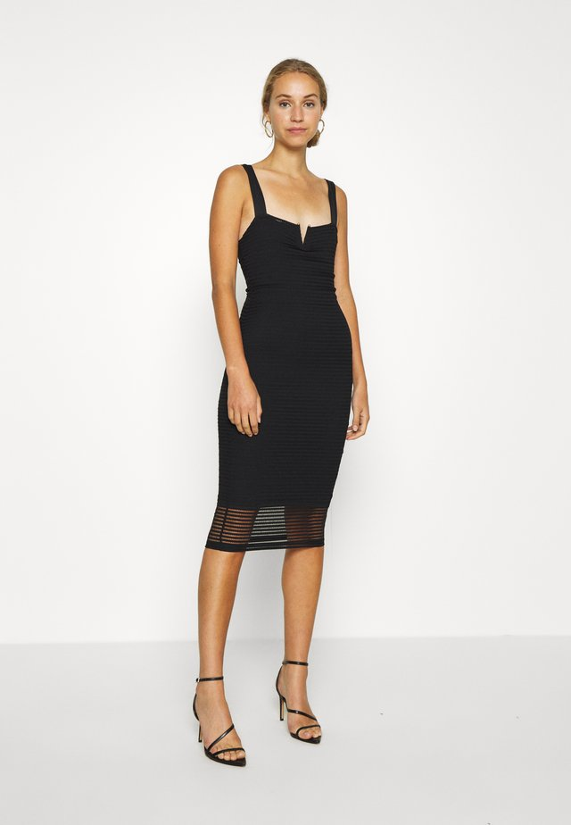 SHEER MIDI DRESS - Korte jurk - black