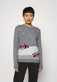 Dorothy Perkins - CHRISTMAS PENGUIN BOBBLE JUMPER - Jumper - grey marl - 0