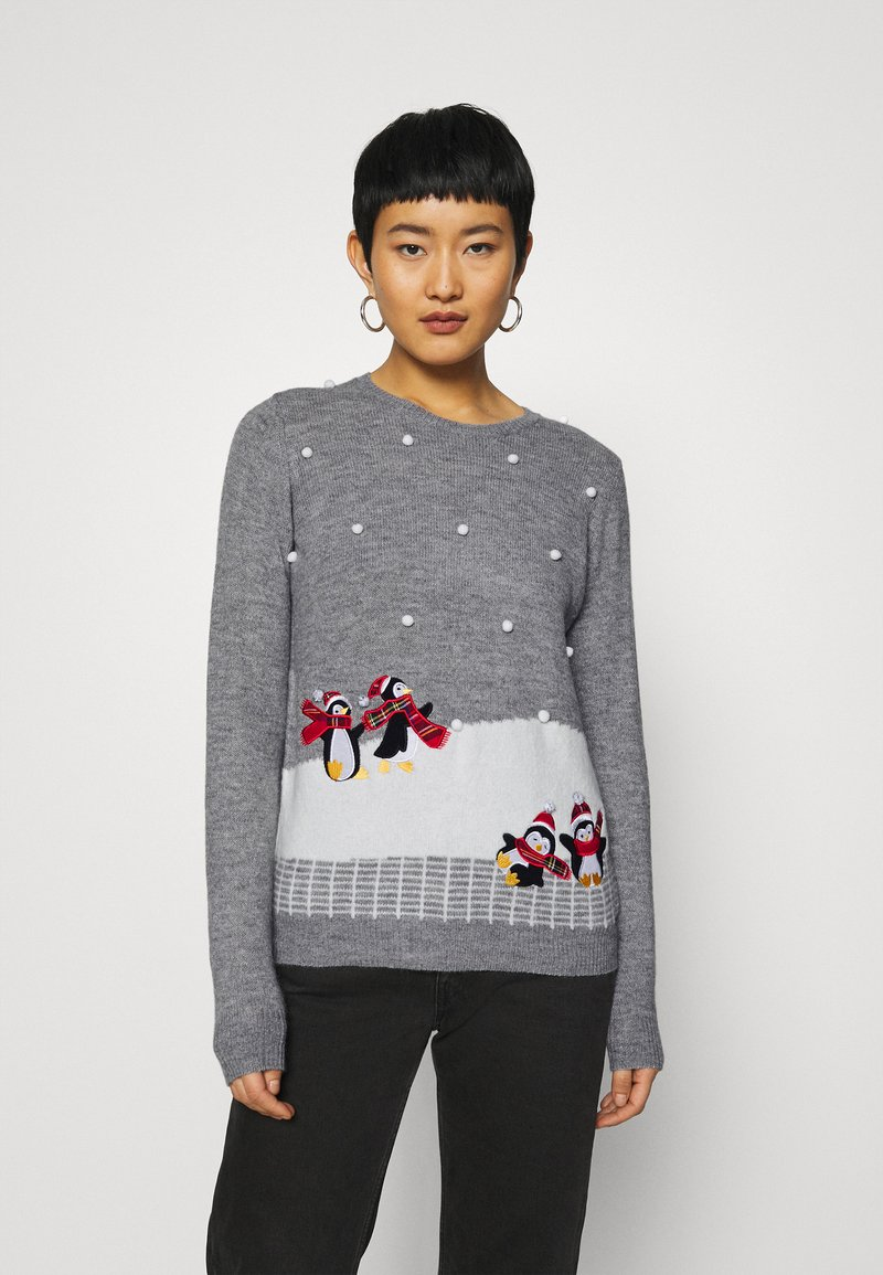 Dorothy Perkins - CHRISTMAS PENGUIN BOBBLE JUMPER - Jumper - grey marl