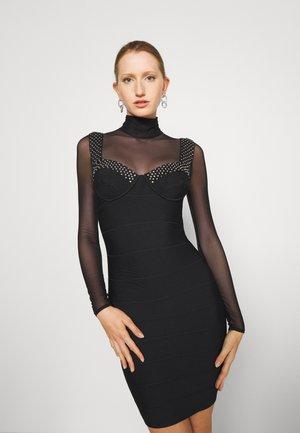 BANDAGE BRA CUP DRESS SHEER CRYSTALS - Strikket kjole - black