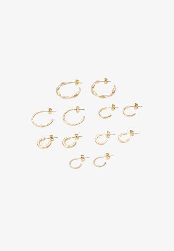 PCDIONA HOOP EARRINGS 6 PACK - Earrings - gold-coloured