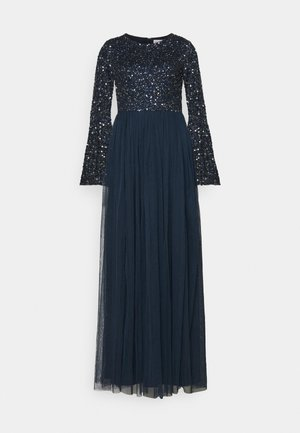 ROUND NECK DELICATE SEQUIN BELL SLEEVE MAXI DRESS - Robe de cocktail - navy