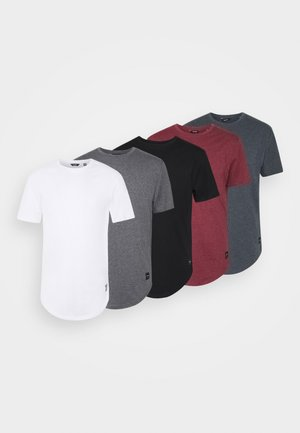 MATT 5 PACK - Basic T-shirt - dark grey melange/cabernet mel