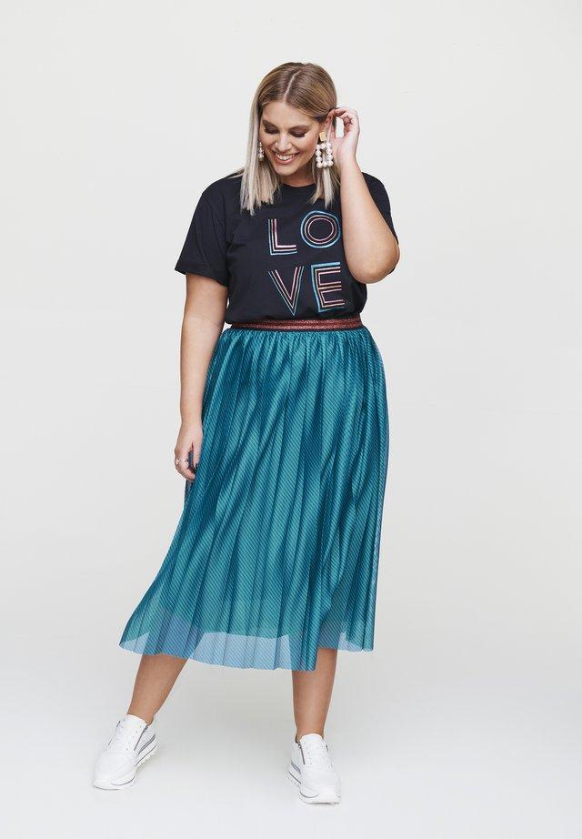 Pleated skirt - petrol