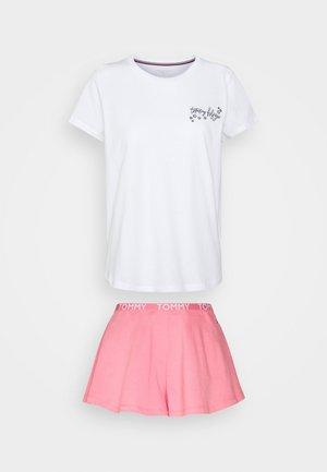 LACESS SHORT SET - Pyžamo - white/hamptons pink