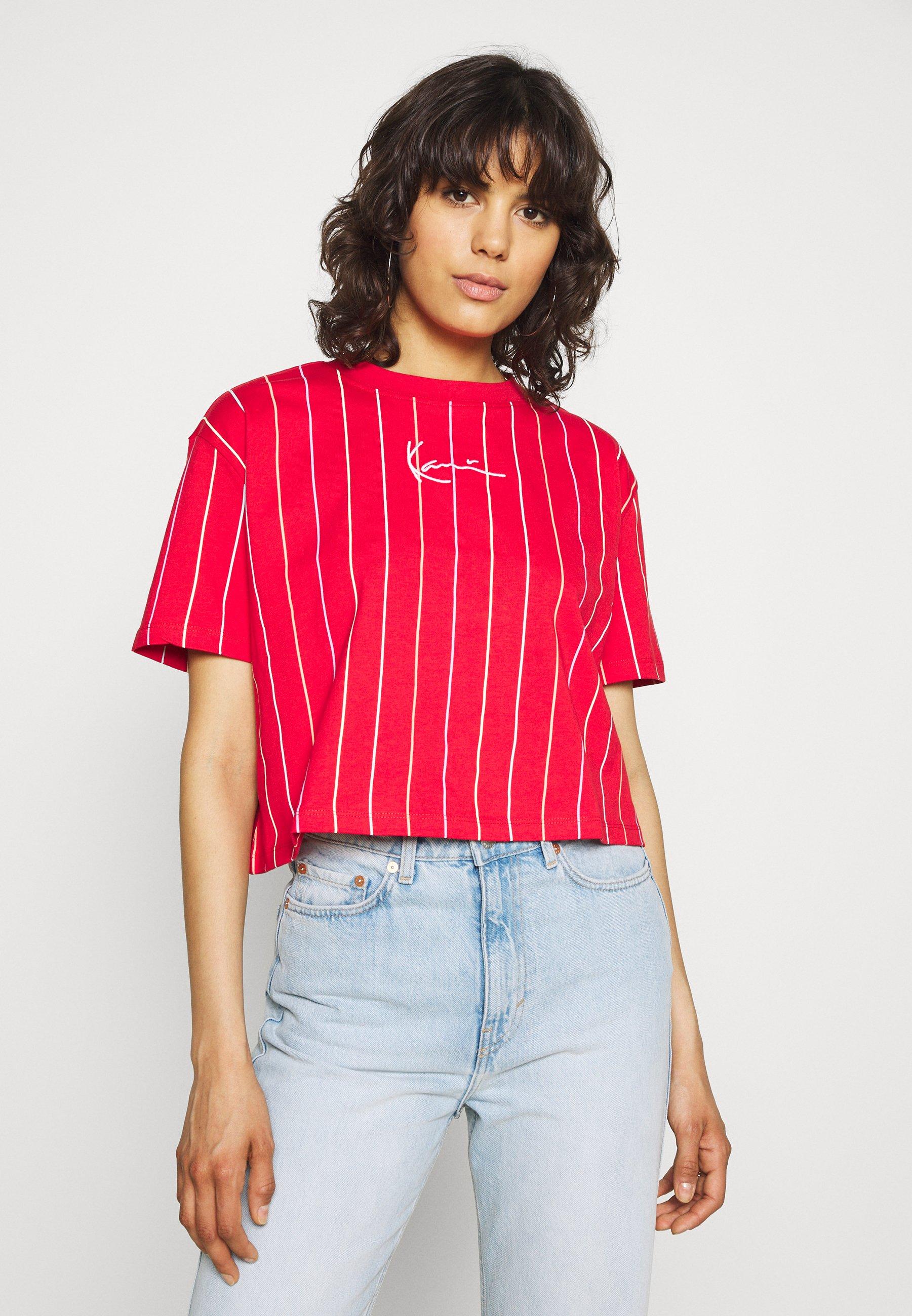 Damen SMALL SIGNATURE SHORT PINSTRIPE TEE - T-Shirt print