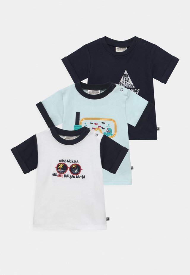 OCEAN CHILD 3 PACK - T-shirt med print - blue/white