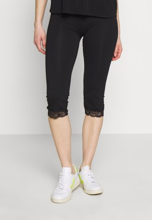Capri Leggings with Lace - Leggings - Trousers -  black
