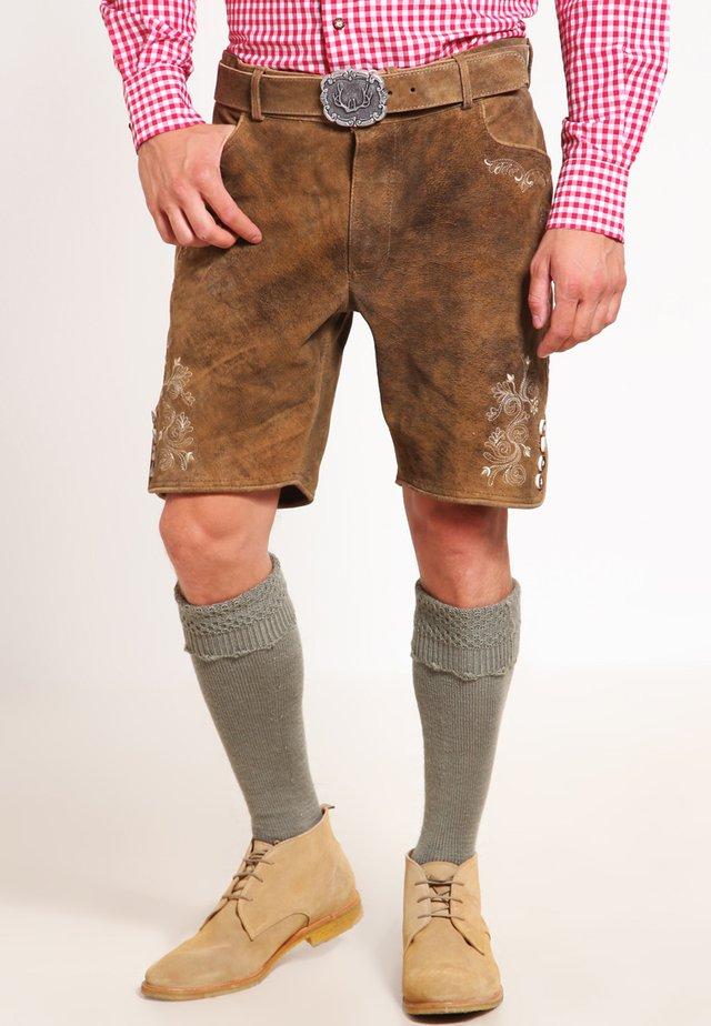 CORBI - Leather trousers - havanna