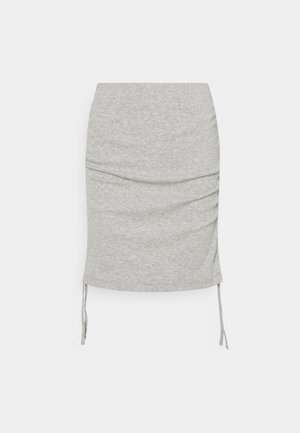 NMSTINE ROUCHING SKIRT - Minisukně - light grey melange