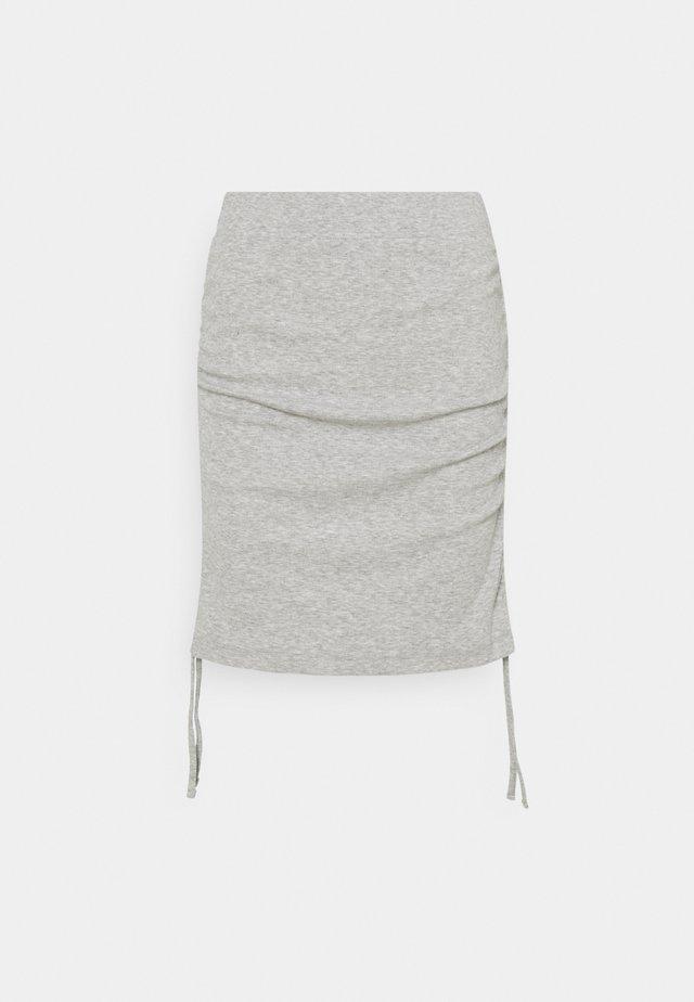 NMSTINE ROUCHING SKIRT - Mini skirts  - light grey melange