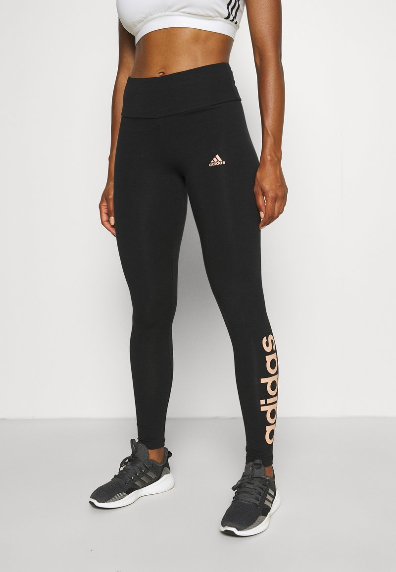 adidas Performance - LOUNGEWEAR ESSENTIALS HIGH-WAISTED LOGO LEGGINGS - Tights - black/ambient blush