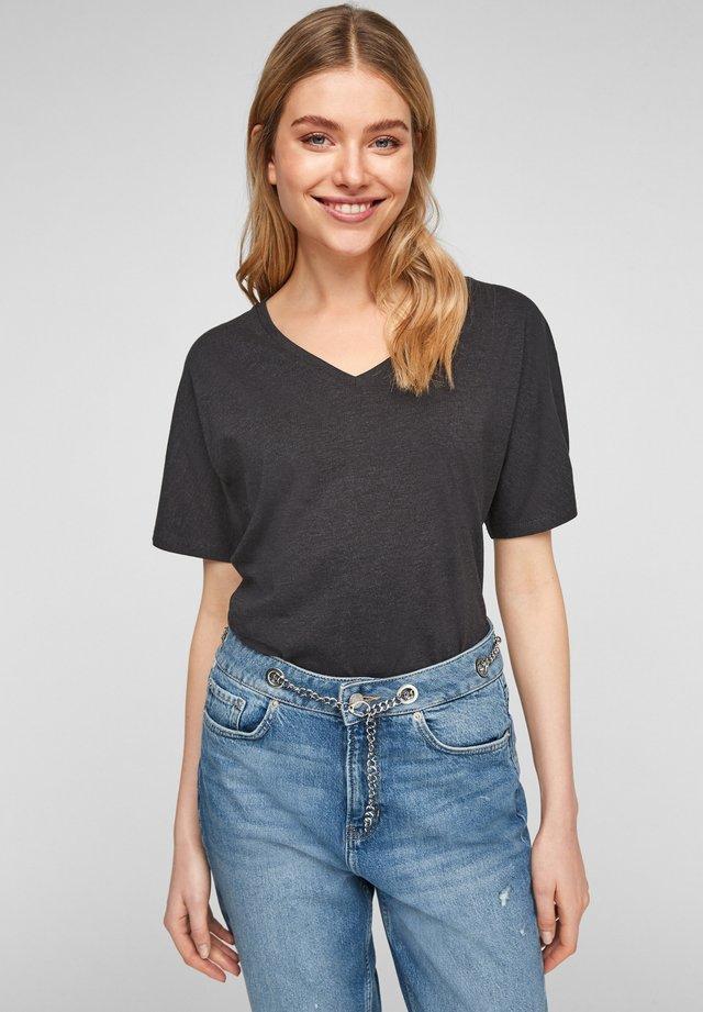 MIT V AUSSCHNITT - Basic T-shirt - dark grey melange