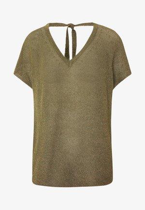 CREW NECK TIE BACK - T-shirts med print - safari green