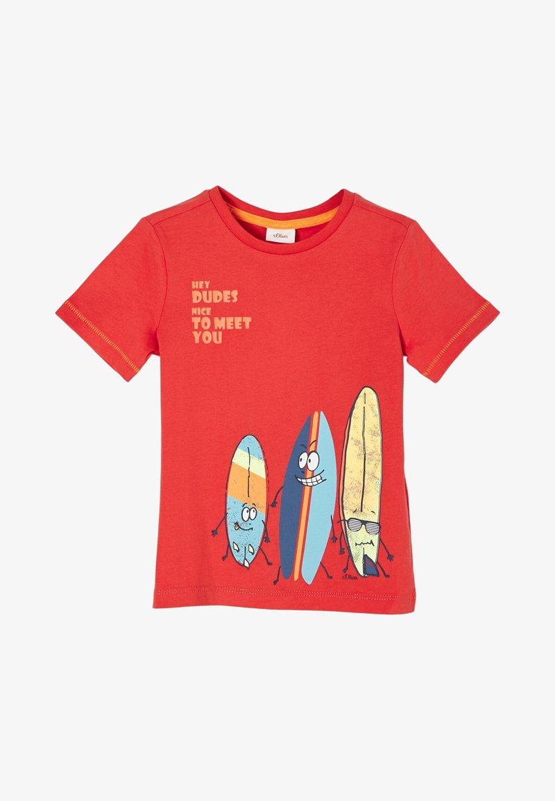 s.Oliver - MIT SURFER-MOTIV - Print T-shirt - dark orange