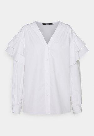 V-NECK BLOUSE RUFFLES - Blouse - white