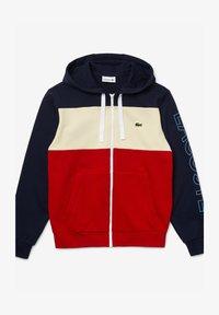 Lacoste - SH0177 - Hoodie met rits - navy blau / beige / rot - 0