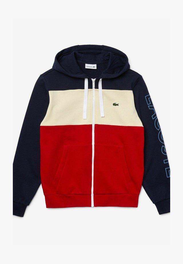 SH0177 - veste en sweat zippée - navy blau / beige / rot