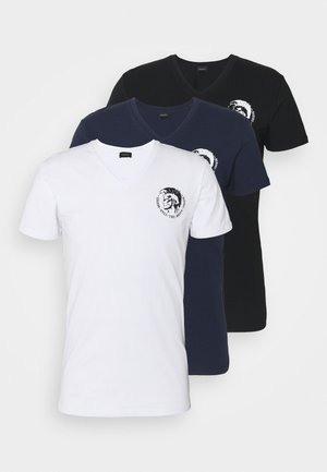 UMTEE MICHAEL V NECK 3 PACK - T-shirt print - white/blue/black
