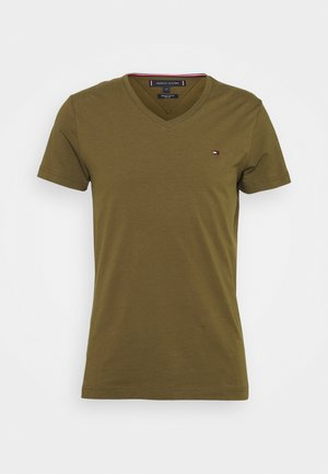 STRETCH V NECK TEE - Basic T-shirt - dark olive