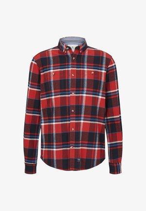 Shirt - red blue shades check