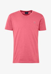 GANT - ORIGINAL SLIM V NECK - T-shirt - bas - bright pink - 3