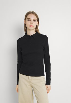 BUTTONED COLLAR - Long sleeved top - black
