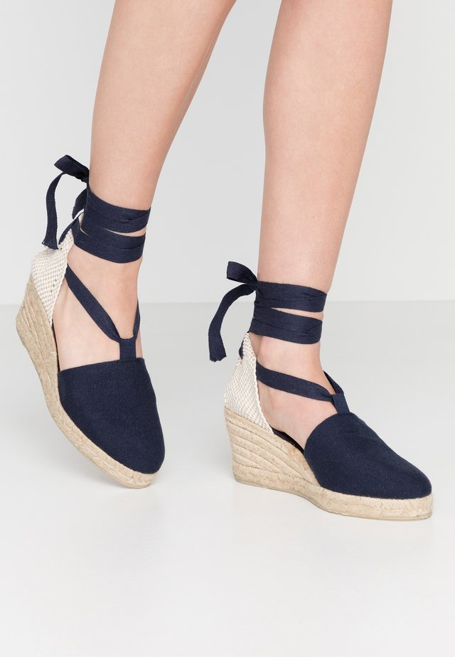 LACE UP WEDGES - Espadrilles - navy