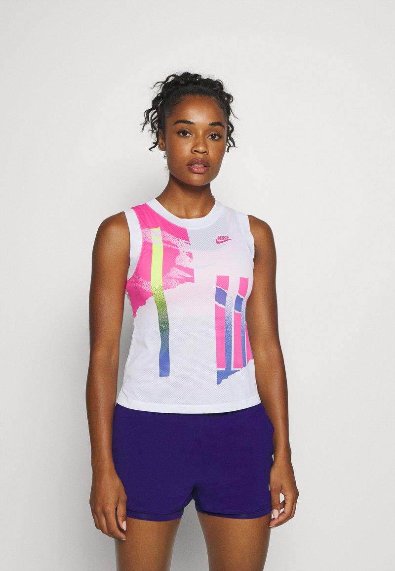 Nike Performance - SLAM TANK  - Sports shirt - white/hot lime/sapphire/pink foil
